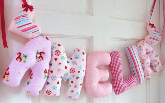 Amelia - Gorgeous, unique padded baby name wall, cot, or bedroom door banner. You can have your child's name made in this combination of fabrics via our ETSY shop. Perfect for baby showers or as christening gifts.