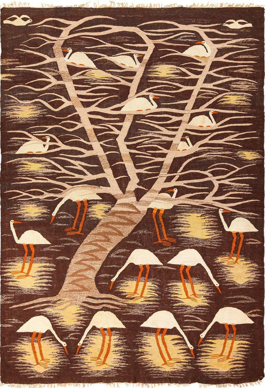 Naturalist Scene Vintage Scandinavian Kilim Rug 49537 With Images Scandinavian Scandinavian Textiles Hanging Art