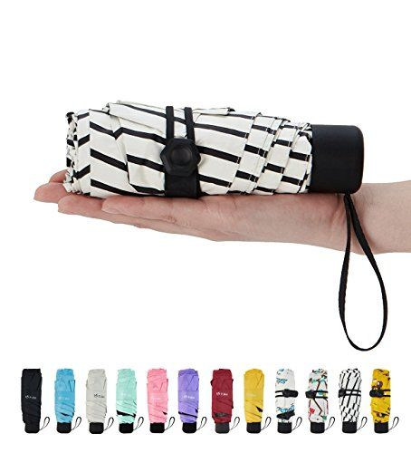 Fidus Ultra light Mini Compact Travel Umbrella – Windproof Portable Parasol Sun & Rain Outdoor Golf Umbrella With 95% UV Protection for Women Men Kids-stripe white #largeumbrella
