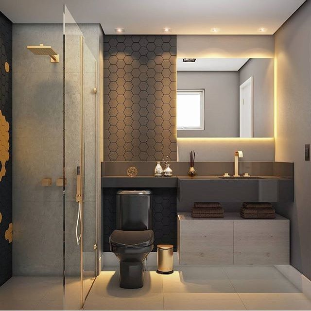 Banheiro escuro com metais dourados banheiro banheiros for Los mejores banos modernos