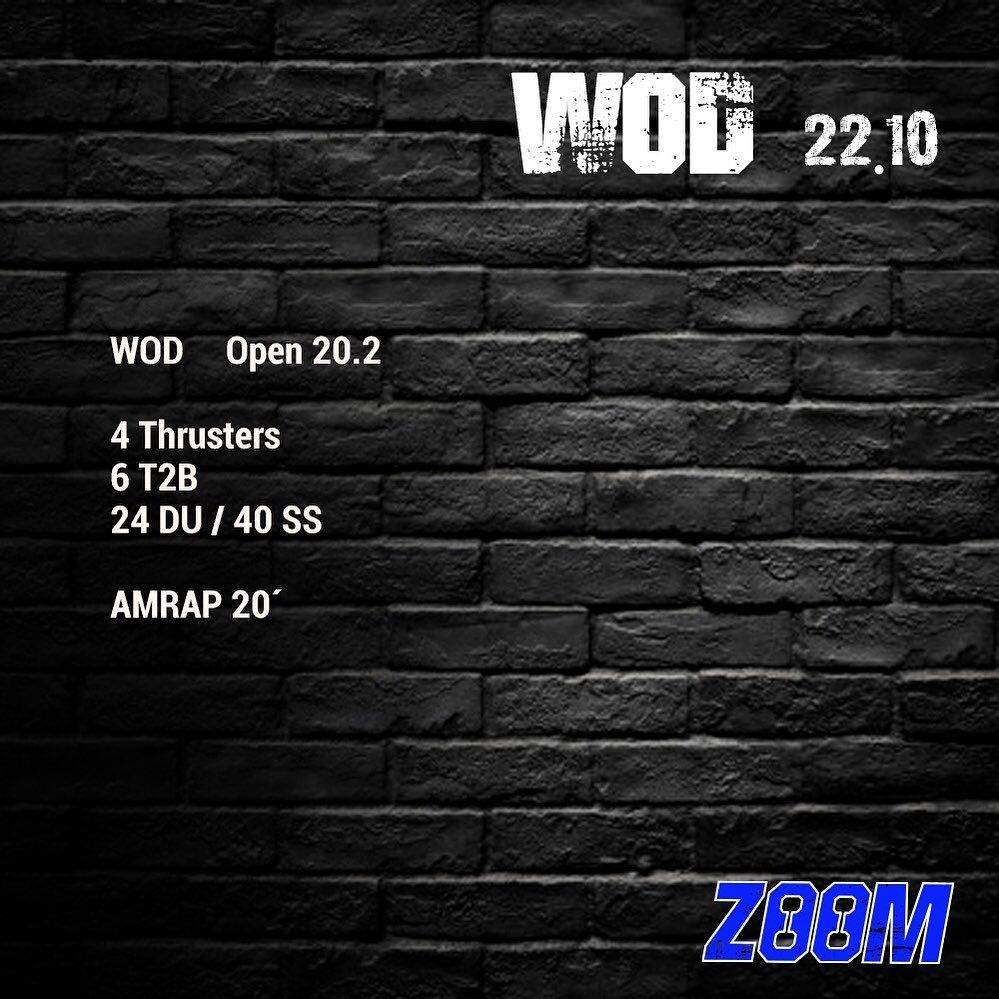 WOD 22.10  Veni a hacer tu clase de prueba GRATIS 😃! - - - -  Te Esperamos 💪🏻💪🏻💪🏻 #zoom #el1 #crossf...