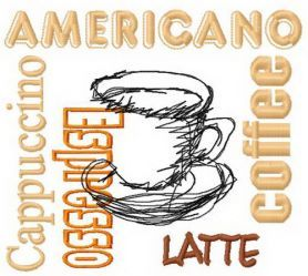 Different coffee 2 machine embroidery design. Machine embroidery design. www.embroideres.com