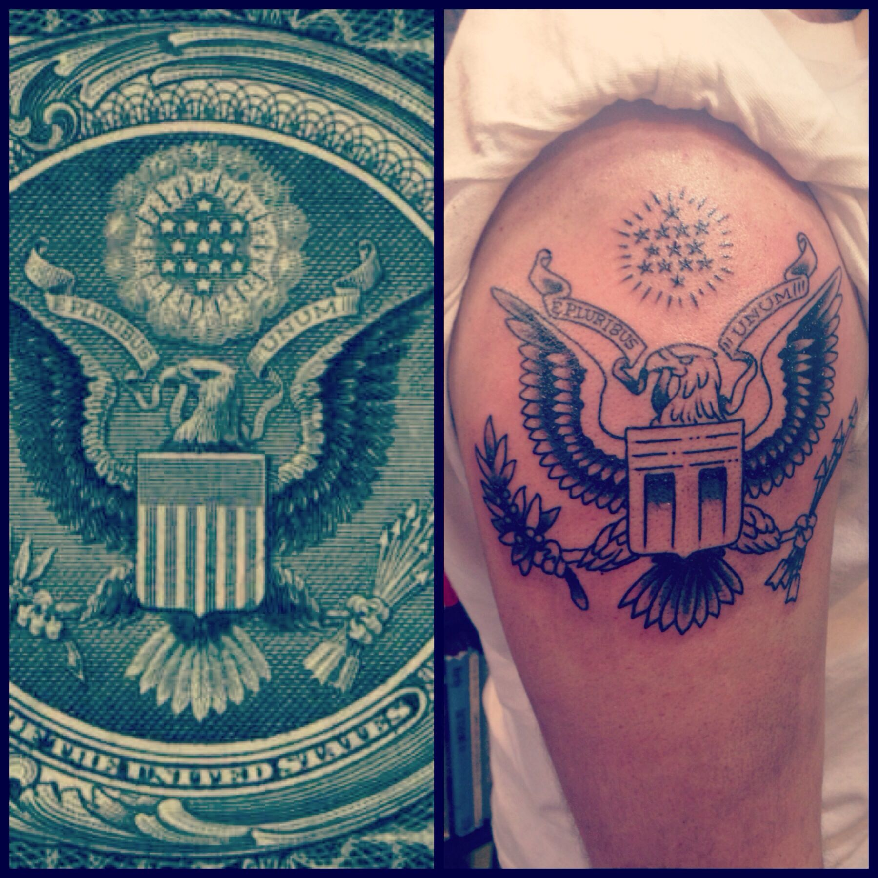 Inspiration to reality! Eagle tattoo from the presidential seal ...
