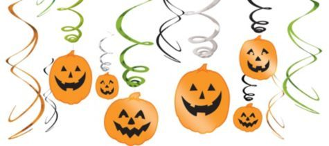 Pumpkin Hanging Swirl Decorations 12ct - Friendly Decorations - Decorations, Supplies - Halloween Costumes - Categories - Party City