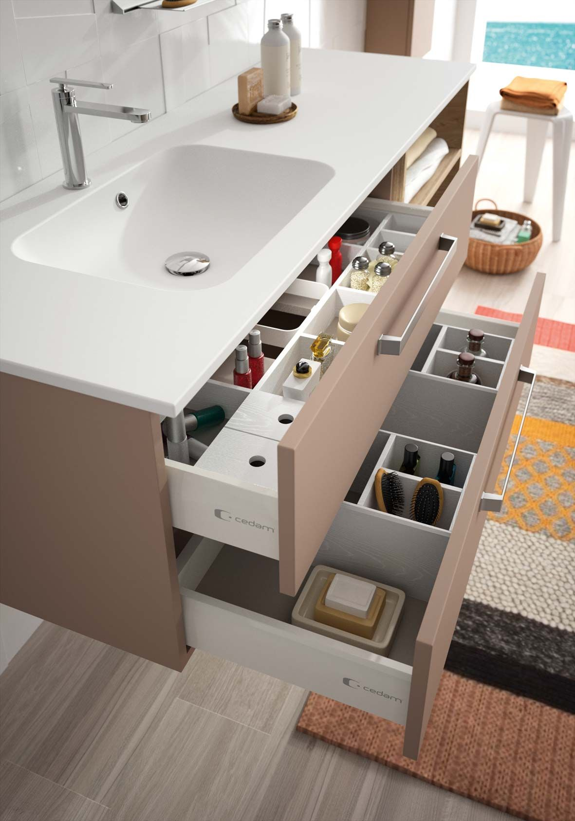 Aménagement intérieur tiroir salle de bain gamme Zoé Cedam