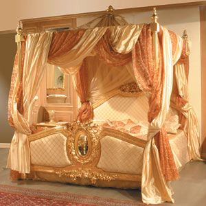 Love The Draping Of This Bed Done In Forest Green And Gold Drapes