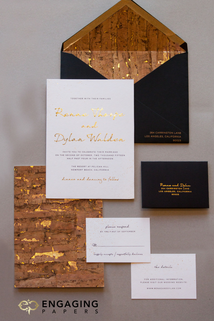 Custom industrial chic wedding invitation suite with gold foil and