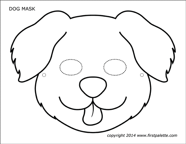 Dog Or Puppy Masks Free Printable Templates Coloring Pages Firstpalette Com Dog Template Animal Mask Templates Printable Animal Masks