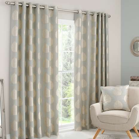 Completed In Duck Egg Blue With Gold Leaf Detailing And Crafted From A Cotton Blend These Fully Lined Curtains Feature An Eyelet Header Are Available