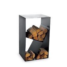 Magnus Estante de madera chimenea CUBO negro Estante de leña