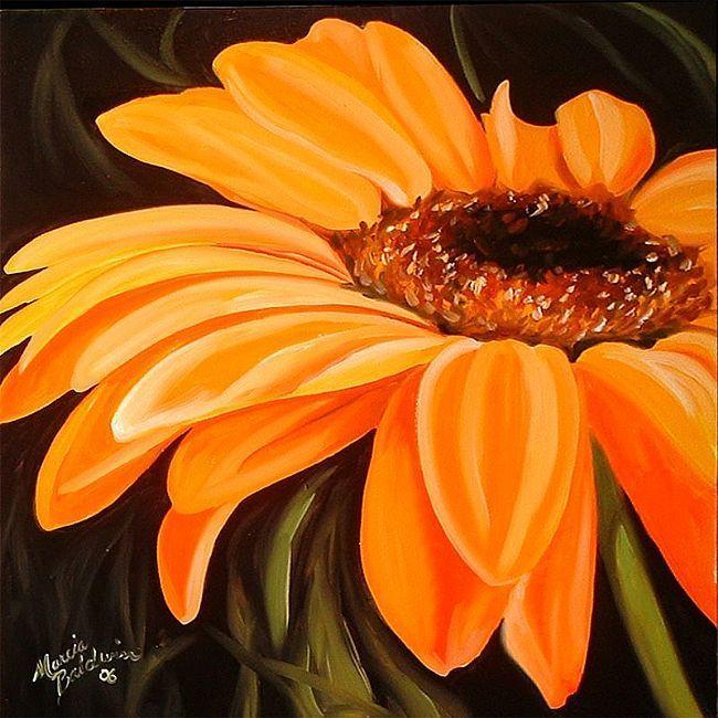 A Gerbera Daisy Yellow Daisy Painting Sunflower Painting Black