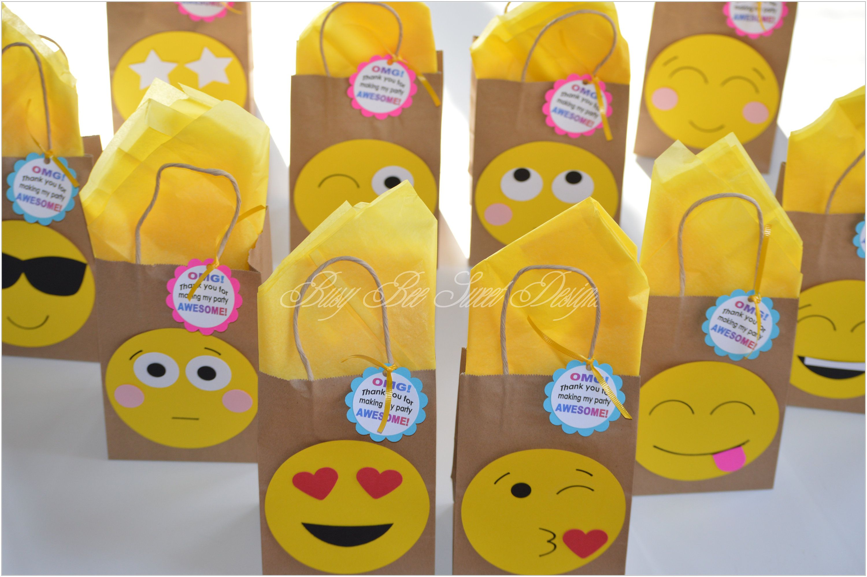Emoji Favor Bags Birthday Party Goody By BusyBeeSweetDesigns On Etsy
