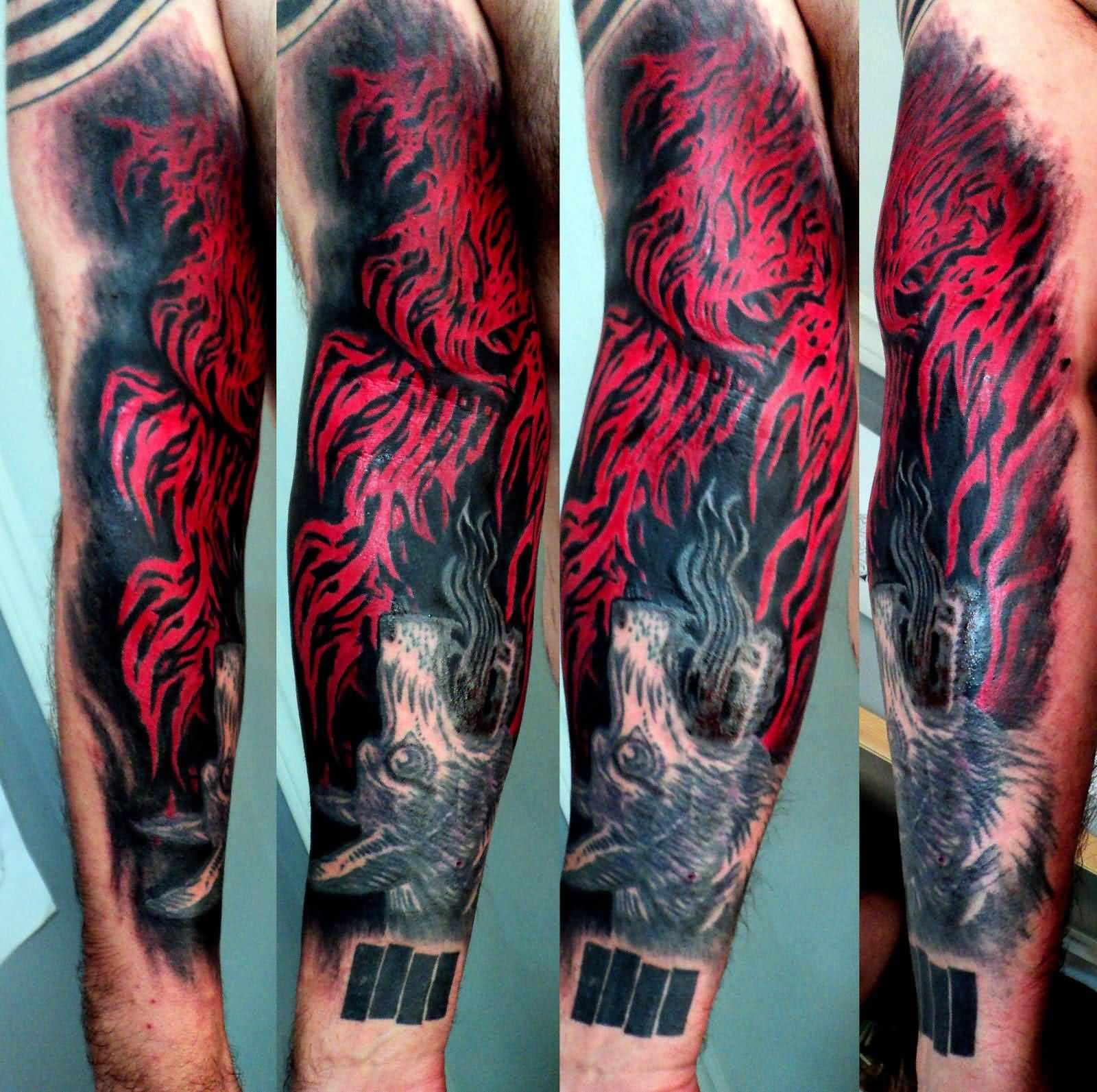 Unique Flames Tattoo On Arm | Flame Forearm Tattoo Designs ...