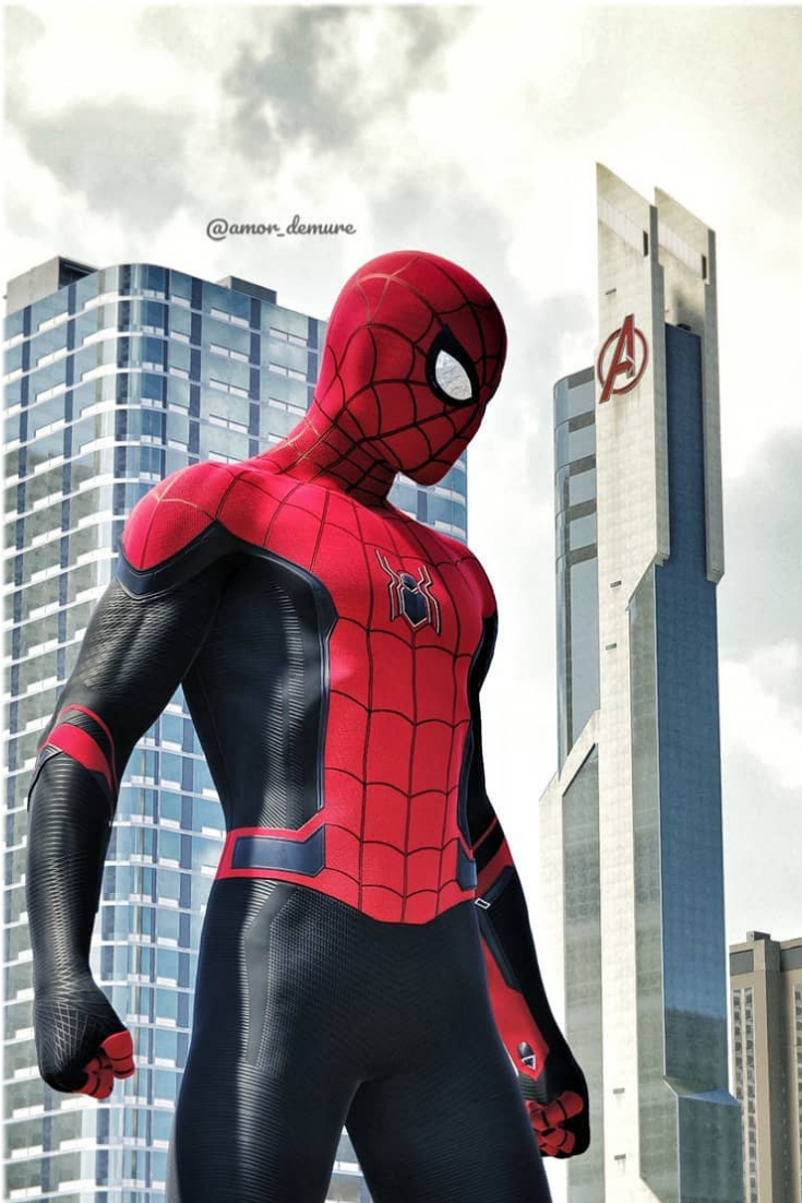 Spiderman Far From Home On Avenger Towers Spiderman Black Spiderman Marvel Spiderman