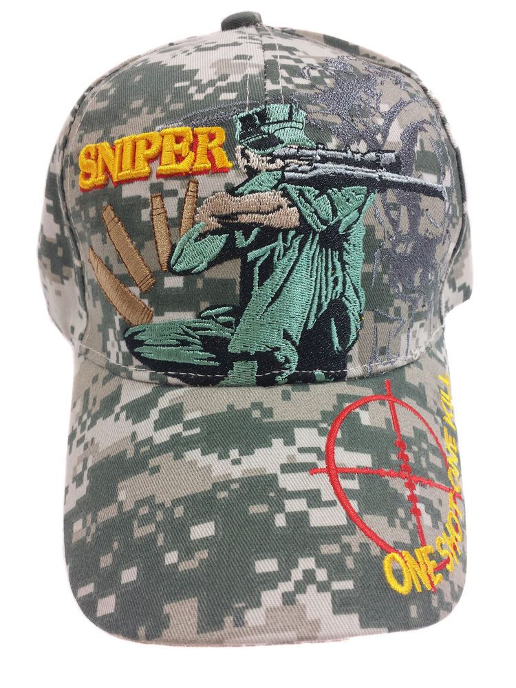 SNIPER One Shot One Kill Camouflage Hat Cap in Clothing 355857954ea0