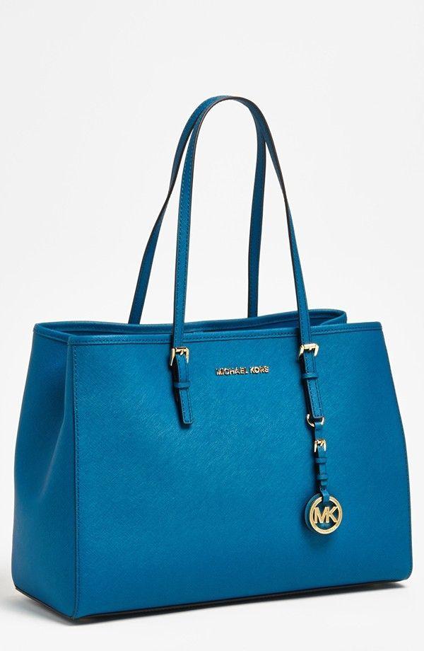 Michael Kors Jet Set Medium Travel Tote Turquoise Saffiano Leather ...