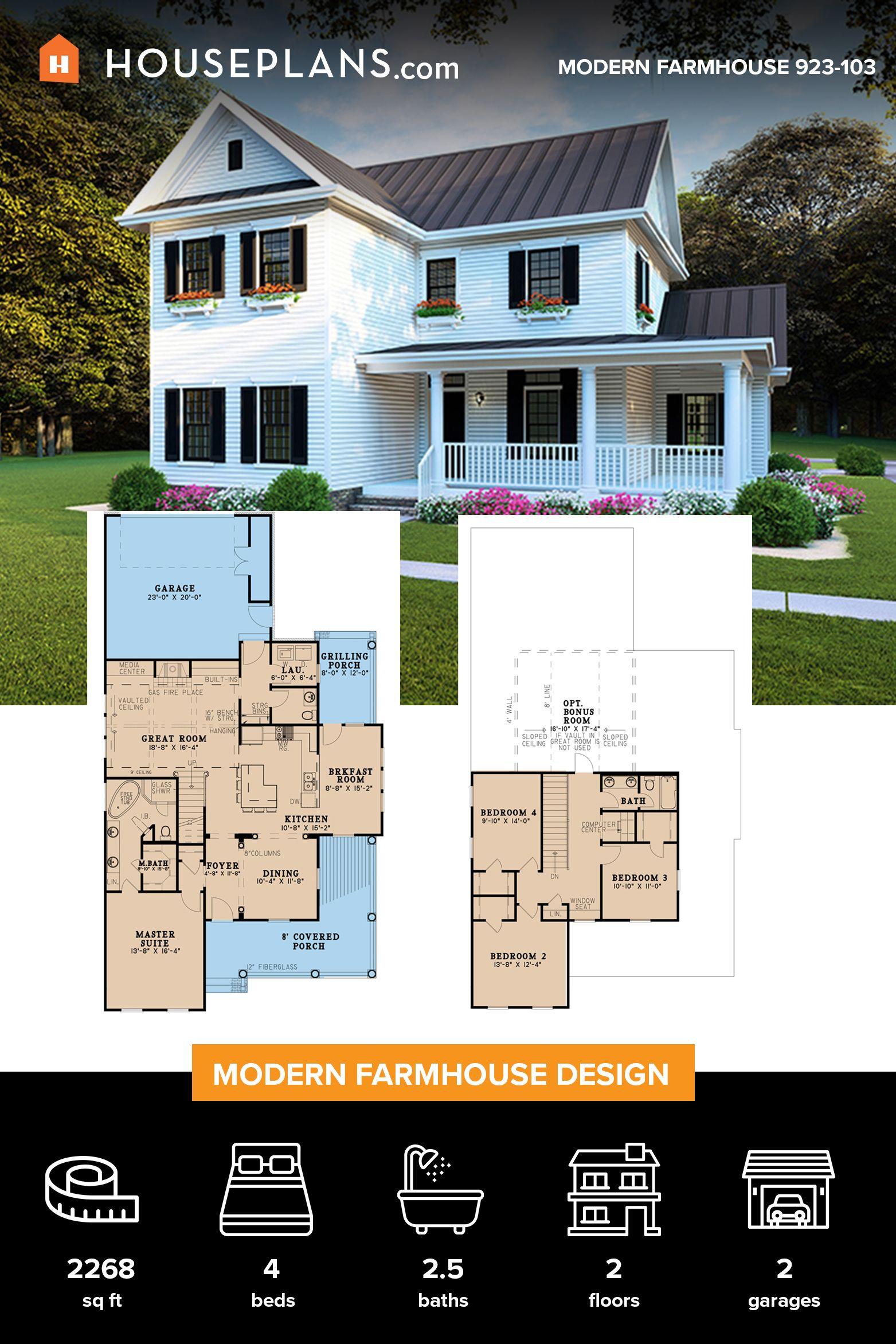 Farmhouse Style House Plan 4 Beds 2 5 Baths 2268 Sq Ft Plan 923 103 Modern Farmhouse Plans Farmhouse Style House Plans Farmhouse Plans