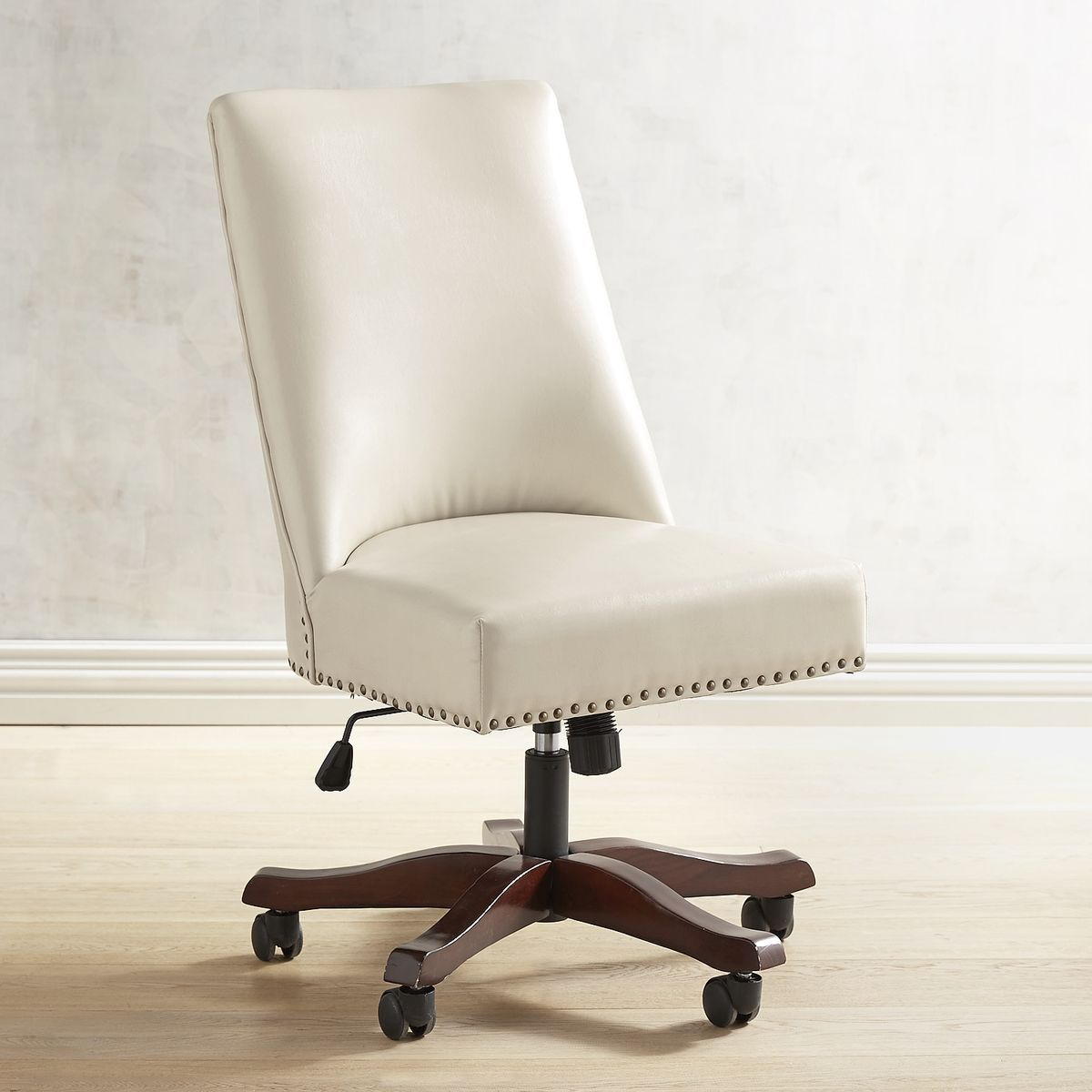 Captivating Corinne Ivory Swivel Desk Chair