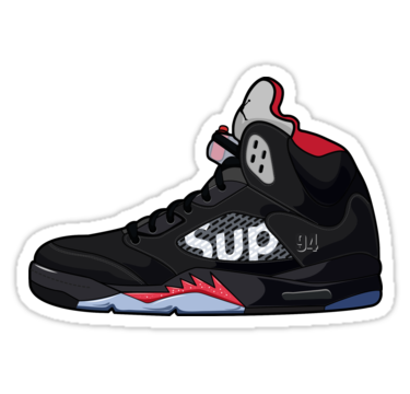 pretty nice 7dac0 97094 Air Jordan 5 Supreme | Sticker | Stickers in 2019 | Supreme ...