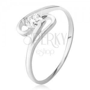 Gyűrű 925 ezüstből, kerek cirkónia a két szár között