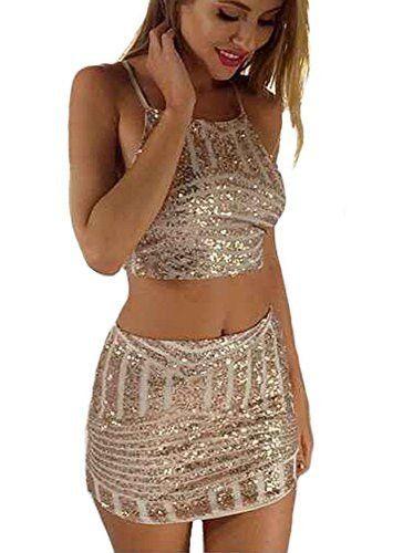 4514cf61ccf6 Rose Gold Sequin Crop Top & Mini Skirt Set | crop tops | Sequin crop ...