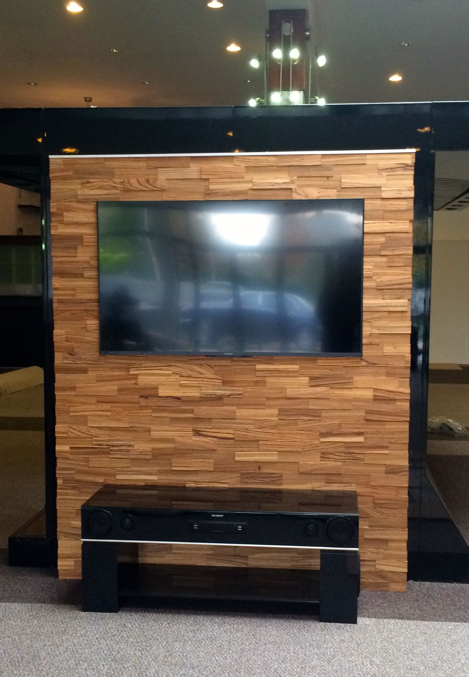 Nice Solution For Television, No Cables Wodewa Zebra Wood Wwwwodewaeu