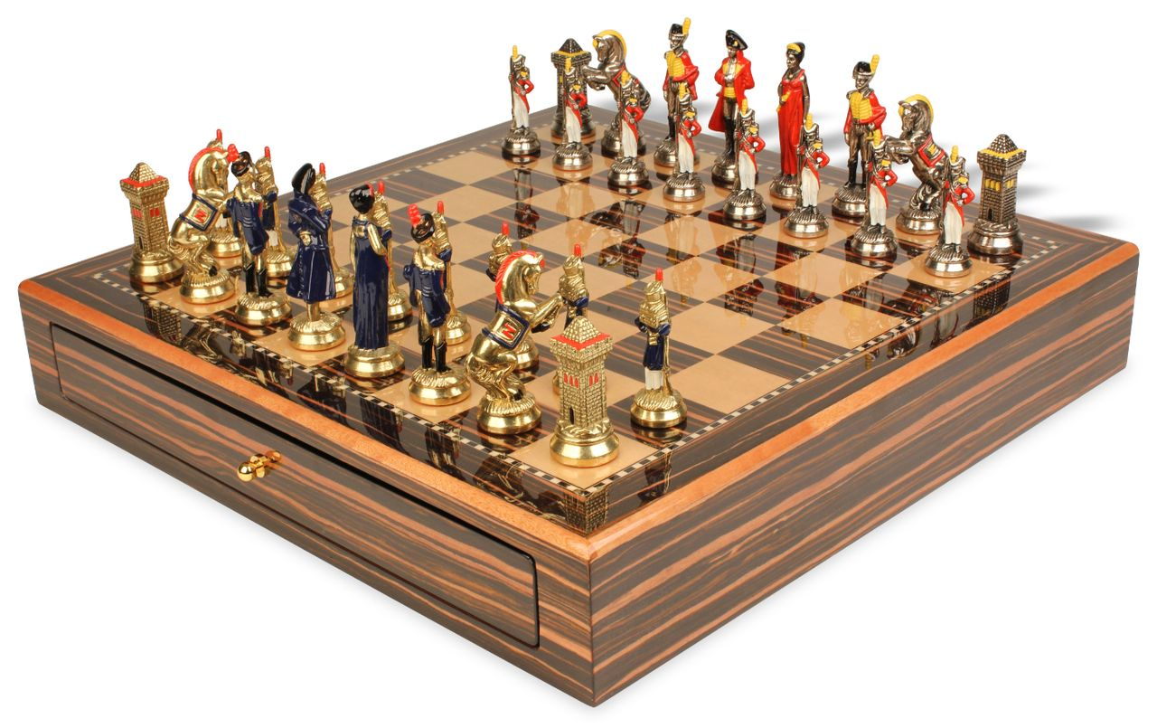 Wonderful Large Napoleon Theme Chess Set Hand Painted Brass Nickel Pieces With  Macassar Case.