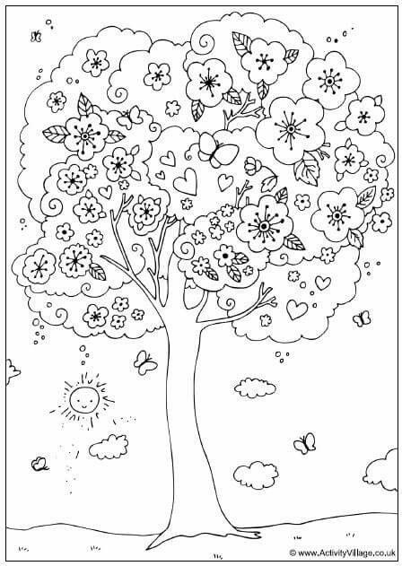 enjoy this pretty spring blossom tree colouring page for kids which can also be used as a counting activity - Cherry Blossom Tree Coloring Pages