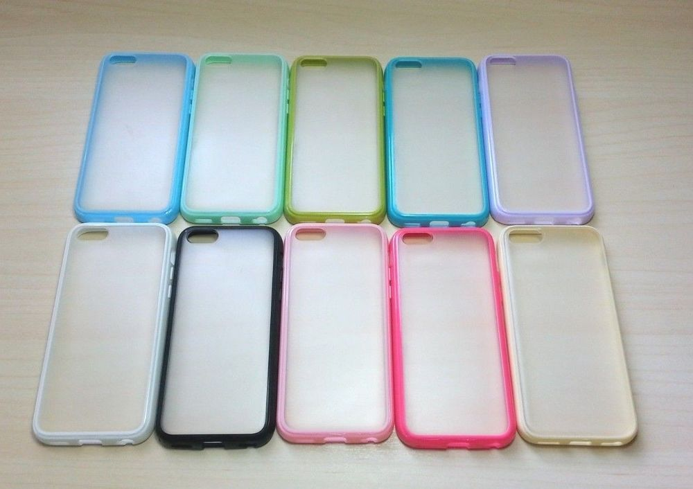 For Apple iPhone 5C Silicone Bumper & Frosted Hard Plastic Case