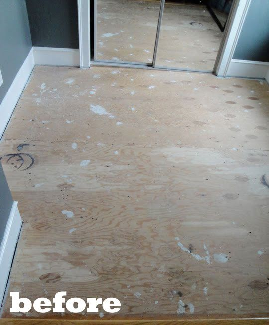 Before After Kim Cara S Painted Plywood Floor Painted Plywood Floors Plywood Flooring Plywood Flooring Diy