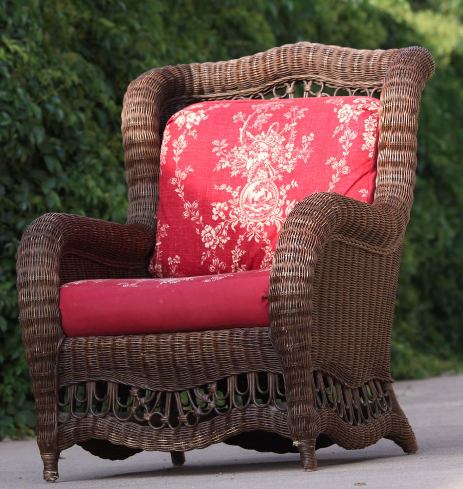 Ethan allen wingback wicker chair british classic series w
