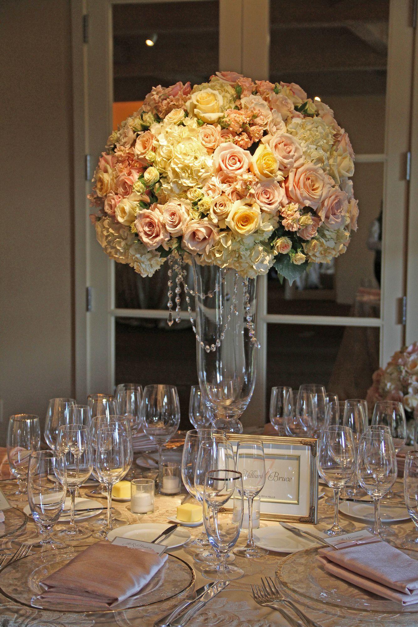 Blush Ivory Gold Tall Wedding Reception Centerpiece Auberge Du Soleil Napa Valley