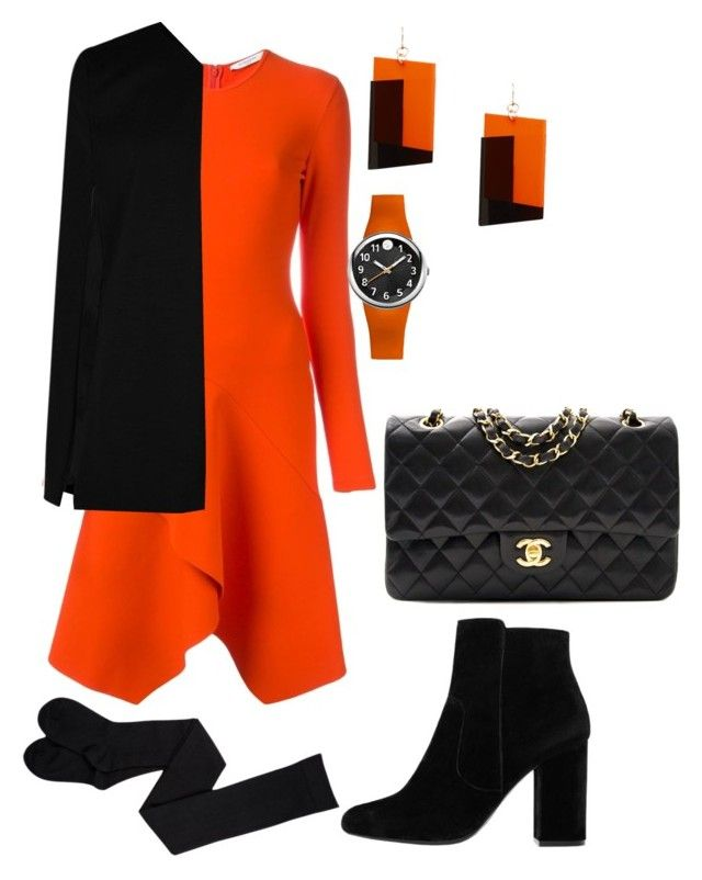 """""""Long Sleeve Dress: Black and Orange"""" by thewithergirl ❤ liked on Polyvore featuring Givenchy, Boohoo, MANGO, Philip Stein, Chanel, dress, longsleeve and blackandorange"""