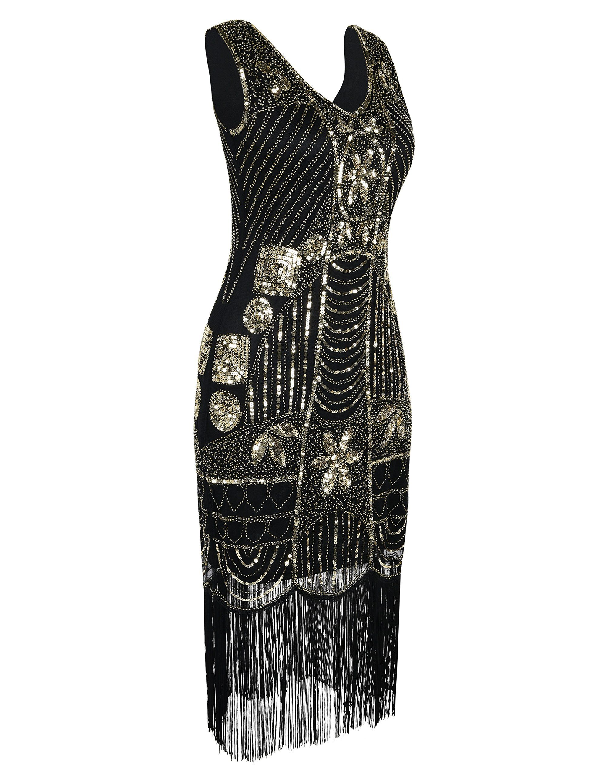 e5d37514c7 PrettyGuide Womens 1920s Gatsby Sequin Art Deco Fringed Cocktail Flapper Dress  XL Gold -- See this great product. (Note Amazon affiliate link)