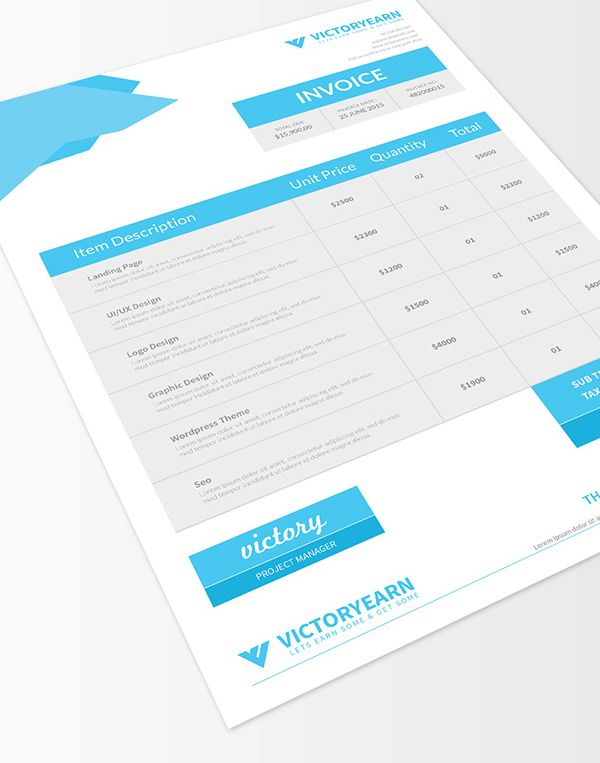 Free Download Invoice Template (PSD) #psdtemplate #webtemplate - free invoice design
