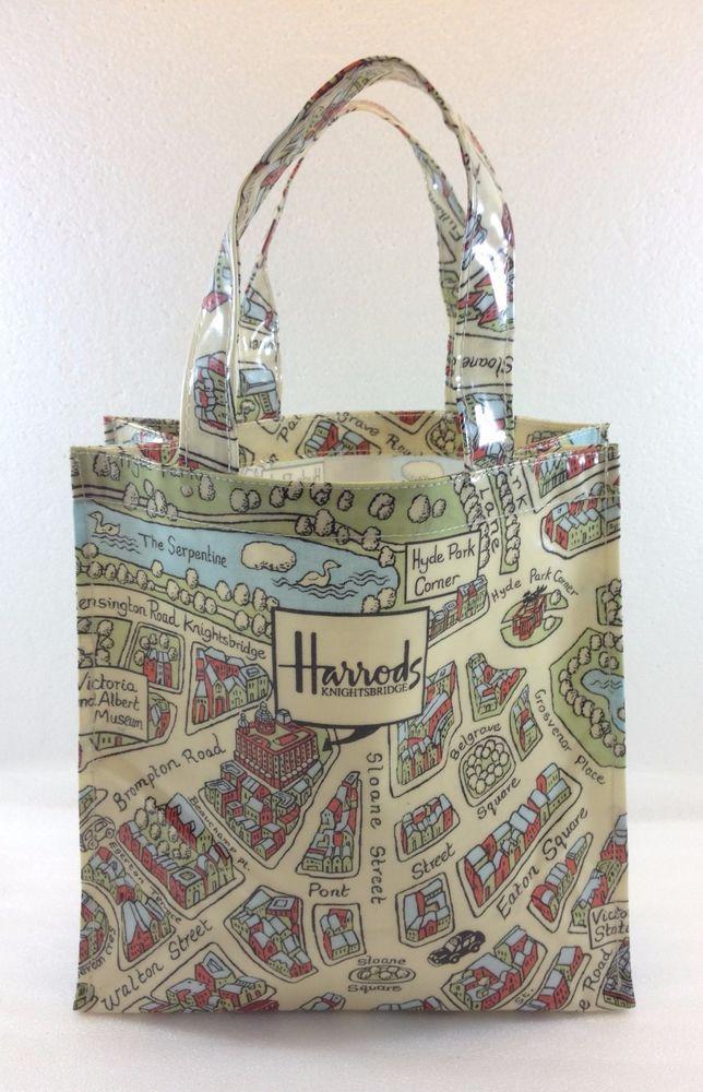 fdfa328b59 Harrods Knightsbridge Small Tote Bag London Map Coated Cotton Made in UK   Harrods