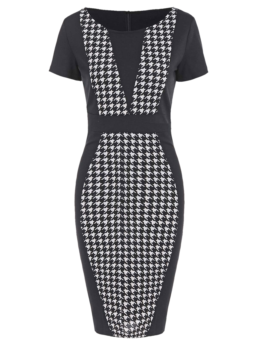 Houndstooth pencil dress with sleeves Платья pinterest houndstooth