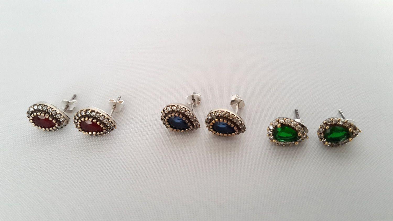 Sterling Silver Earrings ,Silver Earrings ,Ruby Earrings ,Emerald Earrings ,Sapphire Earrings by Rosestyle on Etsy