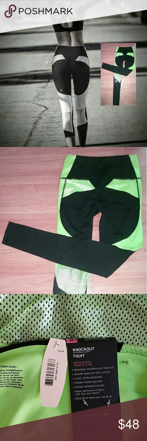 VSX KNOCKOUT tights Med/Short reflective green NWT Victoria's Secret vsx sport knockout tight. It is a medium-short, medium-rise, form-fitting. Hidden drawstring and hidden waistband pocket add to its convenience. Nylon performance fabric with 4-way stretch. Body-wick keeps you cool and dry. Victoria's Secret Pants Leggings