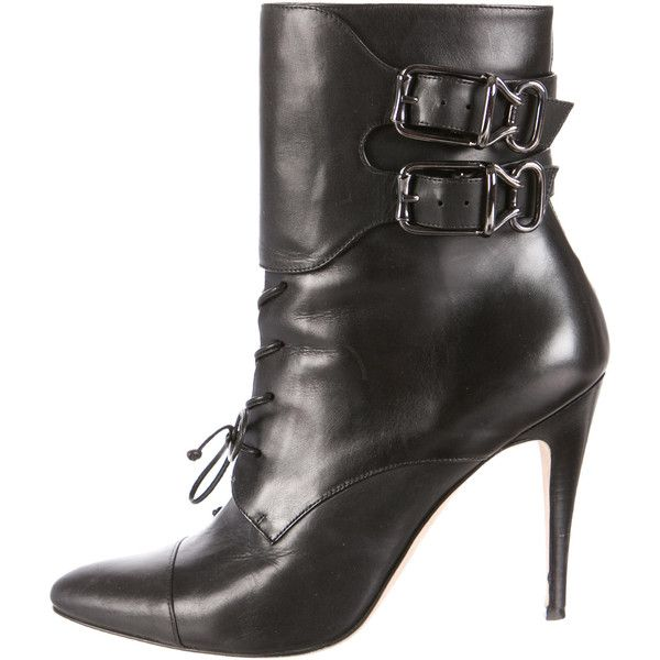 Pre-owned Manolo Blahnik Leather Pointed-Toe Ankle Boots ($225) ❤ liked on Polyvore featuring shoes, boots, ankle booties, black, black ankle boots, black leather boots, black lace up boots, leather ankle boots and black leather bootie