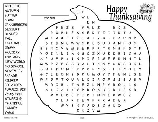 free printable thanksgiving word search worksheets activities lesson plans for kids. Black Bedroom Furniture Sets. Home Design Ideas