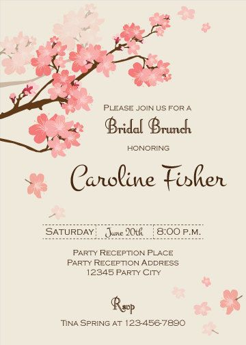bridal brunch invitation cherry blossom invitation floral