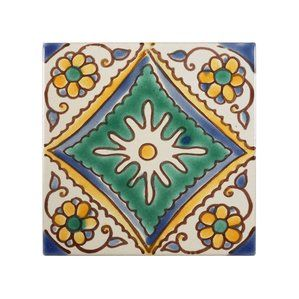 "Decorative Tile Frames Mediterranean 4"" X 4"" Ceramic Palma Decorative Tile In Green"