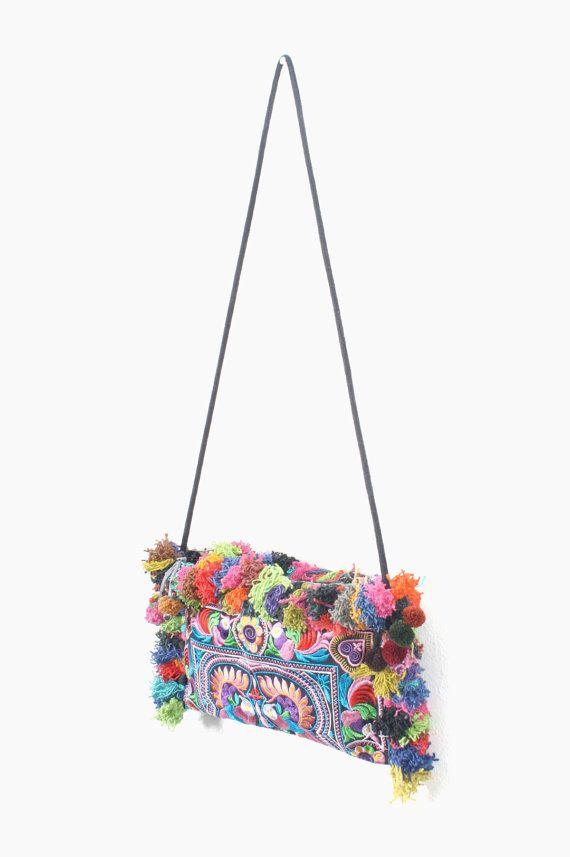 Multi-Color Shoulder Cross Body Hair Purse Hmong Bag Handmade ...
