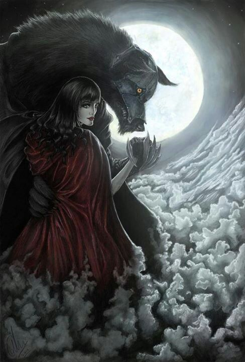 Little Red Riding Hood Share And Snuggle Under The Moon Together
