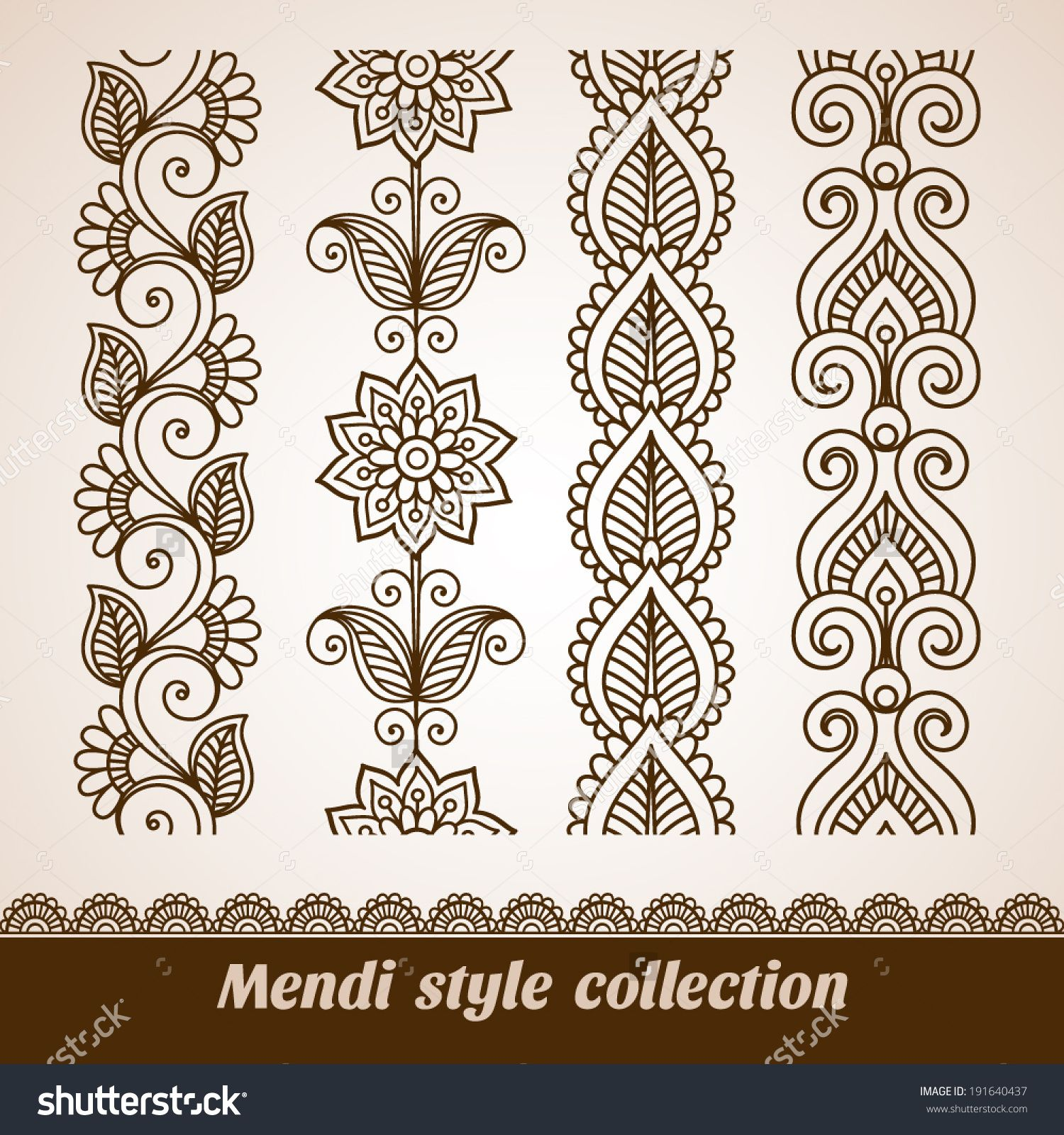 Ornamental Seamless Borders Vector Set With Abstract Floral Elements In