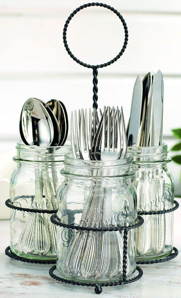 New kitchen mason jar flatware caddy cutlery storage for Creative silverware storage