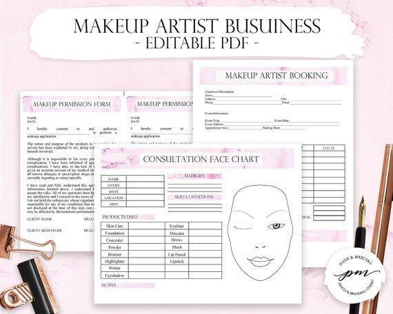 Pink Makeup Artist Business Planner Bundle, Freelance Makeup Artist Forms, Makeup Booking, Wedding Makeup Artist Contact Template