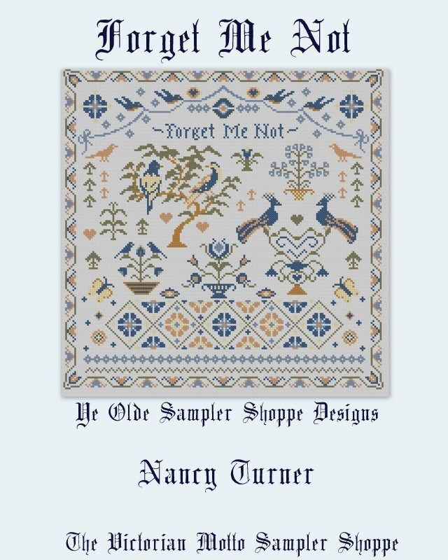 Forget Me Not antique sampler style cross stitch chart,5 pages,color /& symbols