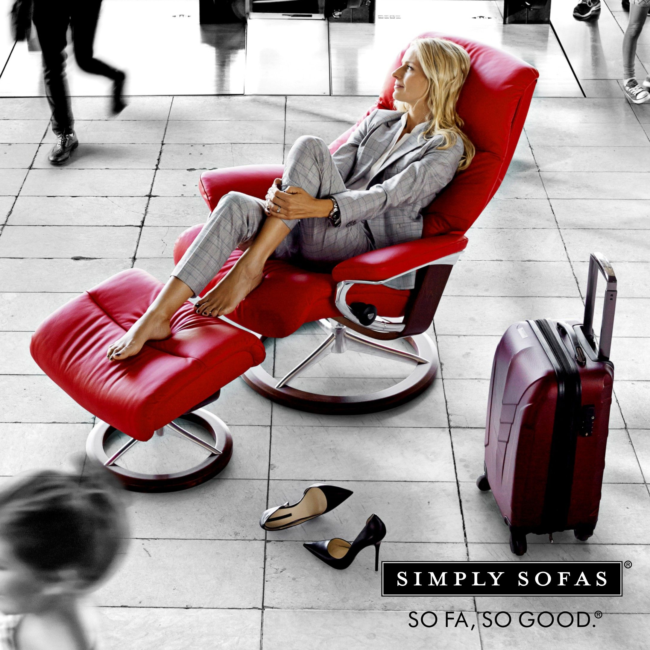 Stressless View recliner The slim back and ottoman gives you a